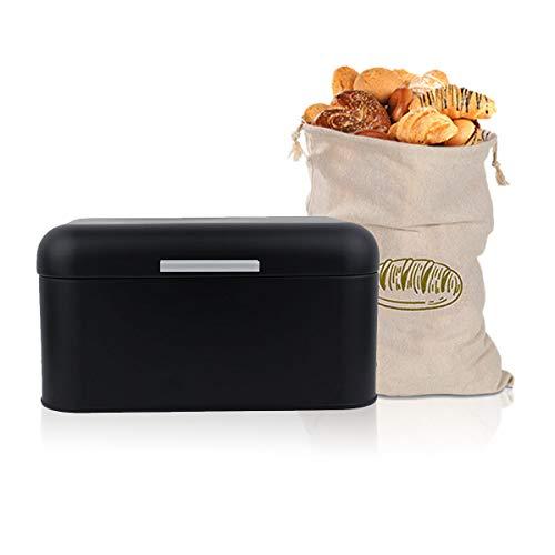 Negro Metal Panera Crumb, Recipiente para Pan con Bolsa incluida Hecha de Algodón para una frescura particularmente Duradera