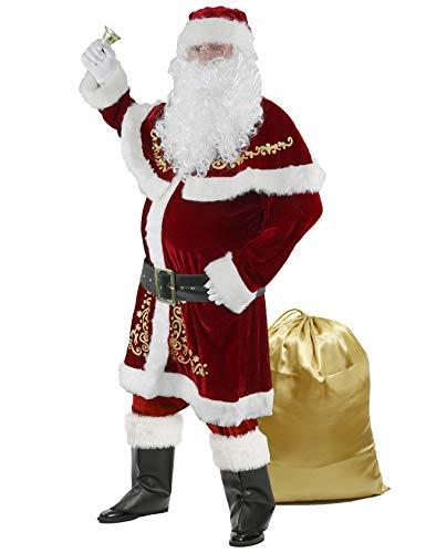 Ahititi Disfraz de Papá Noel para Hombres, Conjunto de 12 PCS de Navidad para Adultos Traje de Santa Claus de Terciopelo Lujoso Rojo 2XL