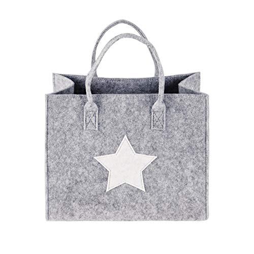 GWELL Filztasche Einkaufstasche Stoff Shopper Bag Henkeltasche Einkaufskorb Aufbewahrung Kaminholztasche Hellgrau mit weißem Stern S