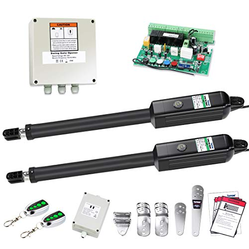 TOPENS PW502 Automatic Gate Opener Kit Medium Duty Dual Gate Operator for Dual Swing Gates Up to 16 Feet or 550 Pounds Gate Motor AC Powered