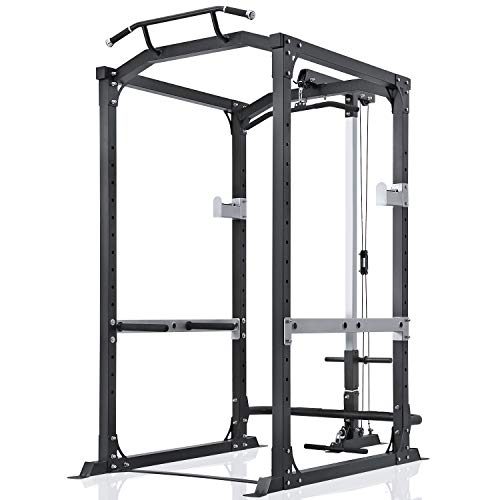 MaxKare Power Rack with LAT Pulldown Power Cage Squat Cage with 14 Height Adjustable 1600lbs Capacity for Barbell Weight Lifting Squat Stand Strength Training Smith Machine for Home Gym