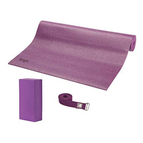 ASANA SET I, Yoga-Set aus Yogamatte, Yoga Block und Yogagurt, lila/volett, Yogaset (nicht nur) für Anfänger