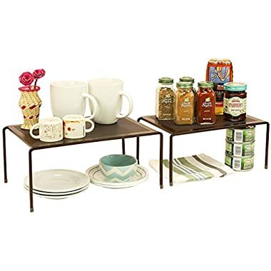 DecoBros Expandable Stackable Kitchen Cabinet and Counter Shelf Organizer,Bronze