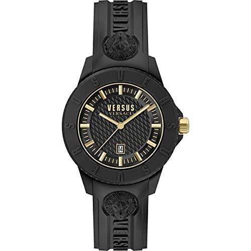 Versus Versace Tokyo - Reloj de pulsera para hombre, 42 mm, correa de silicona, color: negro y dorado