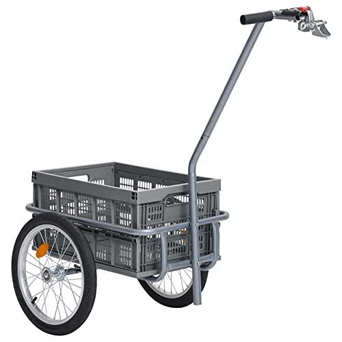 Festnight Remolque para Bicicletas Carga máx.150Kg 135 x 56 x 88 cm Gris con Cesta extraíble Carro de Transporte