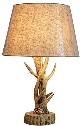 ZouYongKang Tischlampe, kreative Retro-Geweih-Tischlampe dekorative Lampe Haushalt personalisierte Tischlampe, Nachttischlampen mit Leinenschatten Moderne Tischlampe für Schlafzimmer, Wohnzimmer