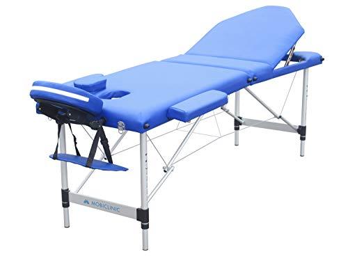 Mobiclinic, Camilla plegable, Aluminio, CA-01 PLUS, Cama de masaje, Reposacabezas, Portátil, Fisioterapia, Marca Española, Cómoda, Regulable, 186 x 60 cm, Azul