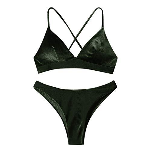Proumy Traje de baño de terciopelo para mujer Conjuntos de bikini de playa sexy Traje de baño acolchado para mujer Sujetador push up Tanga Ropa de playa Bikini de dos piezas S-XL (verde militar, L)