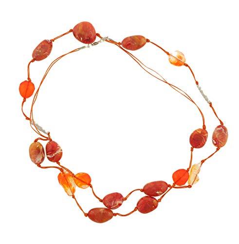 behave Mujer Collar Largo con Cuentas ovales Hecho de Cobre - Naranja - 120cm tamaño