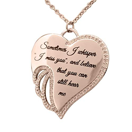 Women Fashion Elegant Angel Wing Letter Heart Charm Rhinestone Necklace for Party Daily Jewelry Gift - Rose Golden
