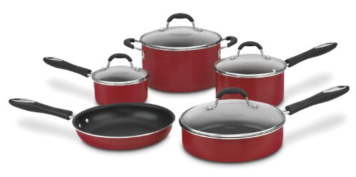 Cuisinart Advantage Nonstick 9-Piece Cookware Set, Red