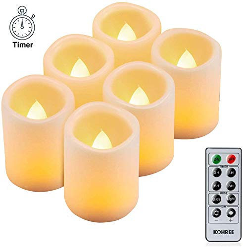 Kohree 6 x Velas LED Sin Fuego de temporizador Control remot