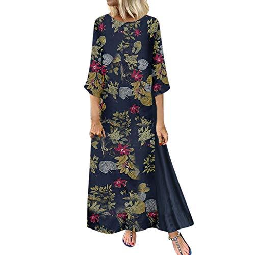 Lulupi Leinenkleid Lang Maxikleid Damen Boho Ärmellos/Lange ÄrmelVintage Geblümtes Übergröße Casual Kleid Elegante Freizeitkleid