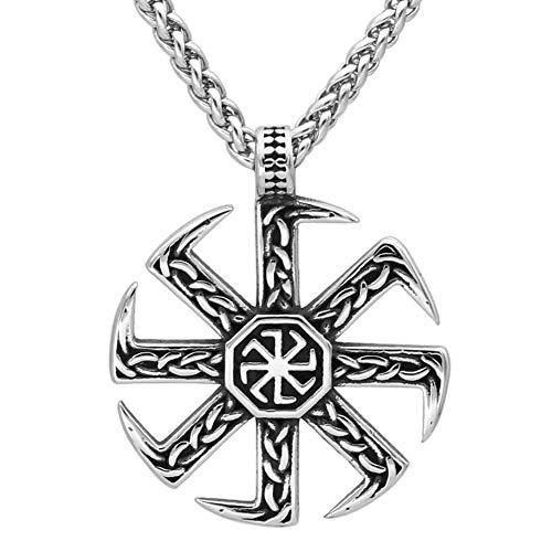 Amuleto Colgante de Kolovrat Eslavo de Acero Inoxidable Para Hombre, Joyas Paganas de Collar Vikingo Rueda de Sol Eslava Vintage, Accesorios Protección Religiosa la Edad Media Nórdica ( Size : 60CM )