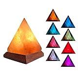V.C.Formark USB Himalayan Salt Lamp Release Negative Ions for Office Home Deco Yoga Gift, Pyramid Salt Crystal Rock Hand Carved+Genuine Wood Base+Colors Changing Salt Lamp