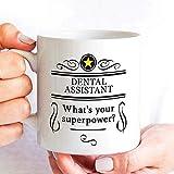 Asistente dental Taza de café Superpower suprehero Regalo para RDA EFDA RDAEF Asistentes dentales Diseño de agradecimiento y agradecimiento