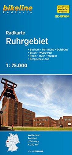 bikeline - Radkarte Ruhrgebiet (NRW04), Duisburg - Bochum - Dortmund, Rhein - Ruhr - Wupper, Bergisches Land, 1:75.000, wasserfest und reißfest, GPS-tauglich mit UTM-Netz