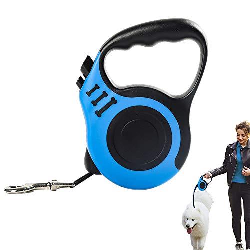Einziehbare Hundeleine, Band-Hundeleine Seil 5 m Verwicklungsfrei 360 mit Rutschfesten Griffen Roll-Leine für Hunde bis Maximal 15 kg mit dem Hund spazieren gehen Hundetrainingsläufe