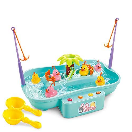 KingbeefLIU Enfant Musique électrique Rotary Fishing Water Inte raction Parent-Enfant Puzzle Jouet,Jouets pour Enfants Blue 3 Ducks and 3 Fish