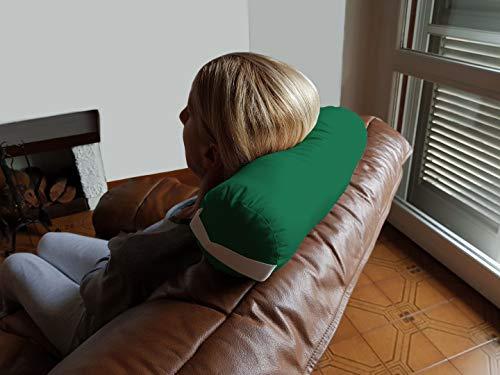 TOMBOLINO -Verde- Cuscino Cilindrico per il Collo da Viaggio Divano Yoga Meditazione, Poggiatesta a Rotolo, Supporto a Rullo per Nuca, Sostegno Cervicale in Pula di Grano Saraceno