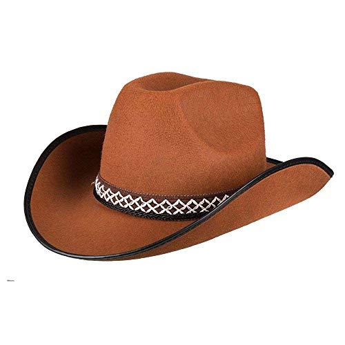 Boland 54370 - Sombrero infantil de vaquero para niño, color marrón, con ribete y cordón para sombrero,...