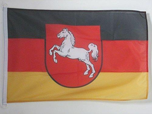 AZ FLAG BOOTFLAGGE Niedersachsen 45x30cm - Niedersachsen BOOTSFAHNE 30 x 45 cm Marine flaggen Top Qualität