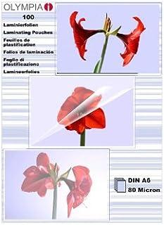 Olympia 9168 Lamineringsfolie, Genomskinlig, 100xA6, Paket med 100 Blad