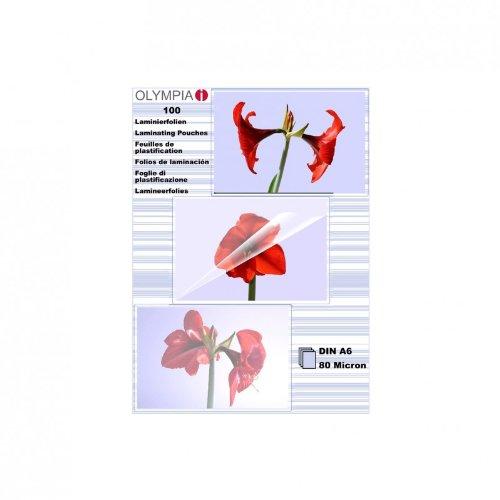 Olympia 9168; Laminierfolien; DIN A6; 80 mic; 100 Stück; glänzend/transparent; geeignet für alle Heißlaminiergeräte