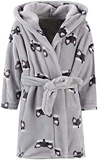 Ameyda Unisex Children's Flannel Bathrobes Hoodie, 1 Years - 13 Years