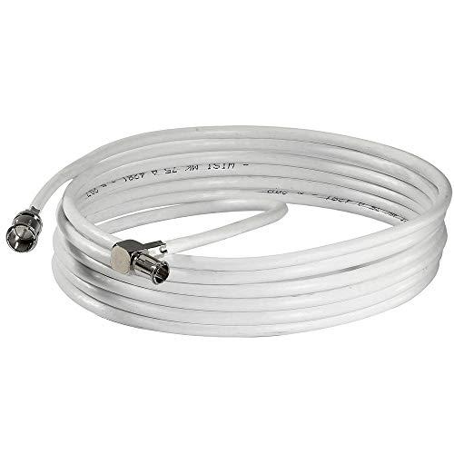 WISI Daten-Anschlusskabel DS 26 0901 mit F-Quick/WICLIC-Winkelstecker – Flexibles Datenkabel, Klasse A, >85dB – Für DVB-T, DVB-T2, DVB-C, DVB-S & DVB-S2 – Ø 5mm, 9m, weiß