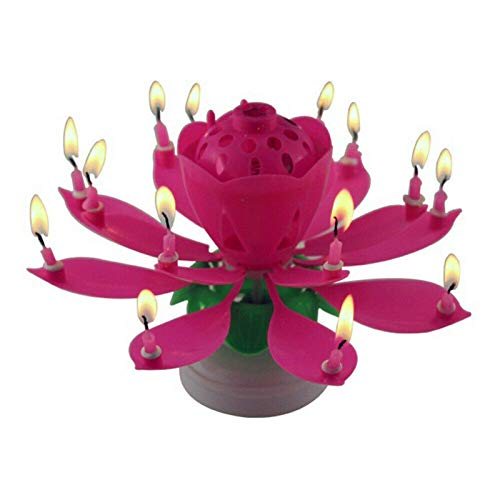 Nihexo Rotating Lotus Cạndlê Birthday Cake Flower Musical Music Cạndlê Whit Music Magic, Birthday Cạndlê, Musical Birthday Cạndlê Rotating Lotus Cạndlê, Party Birthday Cake Décor (1Pcs)