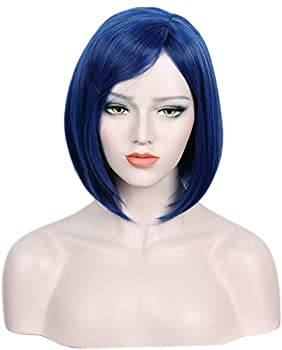 Linfairy Womens Short Blue Wig With Bangs Halloween Costume Cosplay Wig