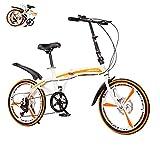 Bicicleta Plegable de 20 Pulgadas, Velocidad Variable, Freno de Disco Doble, Bicicleta para Mujeres Adultas, Unisex, aleación de Aluminio, Ciudad, Camino cómodo (Color:White B,Size:Railway)