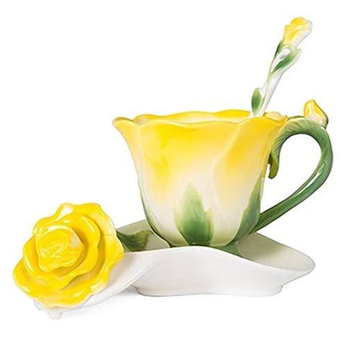 Tazza di caffè Forma 3D Rosa del fiore dello smalto in ceramica tazza di caffè tè e piattino Cucchiaio Di alta qualità in tazza di porcellana creativo regalo di San Valentino design ( Color : Yellow )