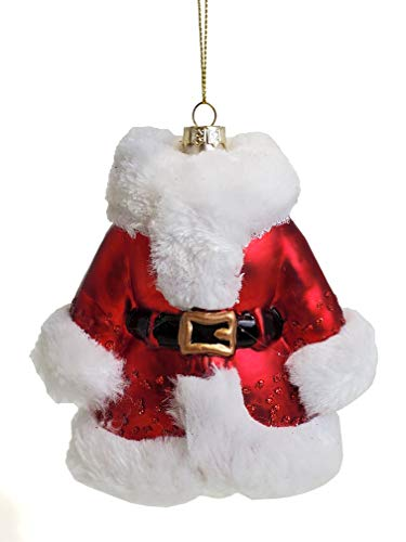 Party Explosions Glass Santa Suit Christmas Ornament with Fuzzy White Accents