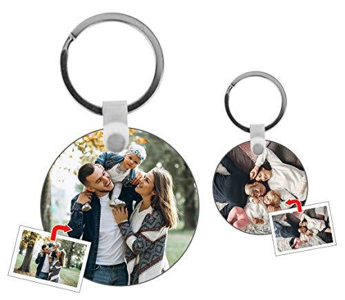 Kembilove Llavero Personalizado con Foto - Llavero con Foto Personalizado en Forma de circulo - Regalo Original para San Valentín, Aniversarios, Cumpleaños