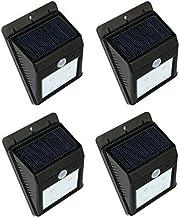 جهاز استشعار حركة باضاءة 20 مصابيح ليد يعمل بالطاقة الشمسية، مصباح حائط للاضاءة الخارجية، عبوة من 4 قطع