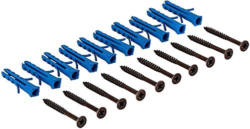 Gedotec Schrauben-Set für gelochte & gebohrte Übergangsprofile und Abschlussprofil aus Aluminium | Schrauben mit Dübel für Boden-Montage | Stahl Bronze | 1 Set - Befestigungsmaterial zum Schrauben