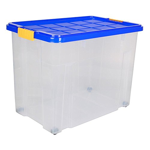3 Stück AXENTIA Unibox mit Deckel und Rollen Stapelbox Universalbox Aufbewahrungskiste Spielzeugbox 60 x 40 x 44,5cm 80 Liter