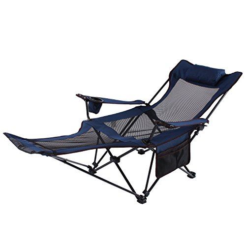 Seatopia Camping Recliner Camping Lounge Chair, Backpacking Folding Chair with Headrest, Footrest and Storage Bag for Outdoor Camping, BBQ.
