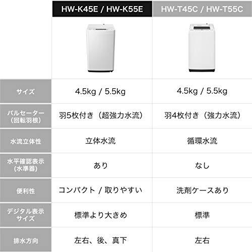 ハイセンス全自動洗濯機4.5kgHW-K45E本体幅50cm最短10分洗濯ひとり暮らしホワイト/ホワイト2020年モデル