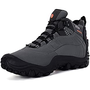 Customer reviews XPETI Winter Hiking Boots, Men's Shoes Outdoor Waterproof Trekking Hiker Mid Rise Mountaineering Trainer Junoir Fashion Snow Grey Size 10