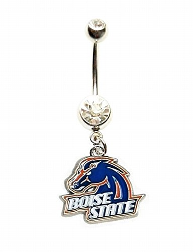 BSU BOISE STATE UNIVERSITY BRONCOS Clear Navel Belly Button Ring Body Jewelry Piercing