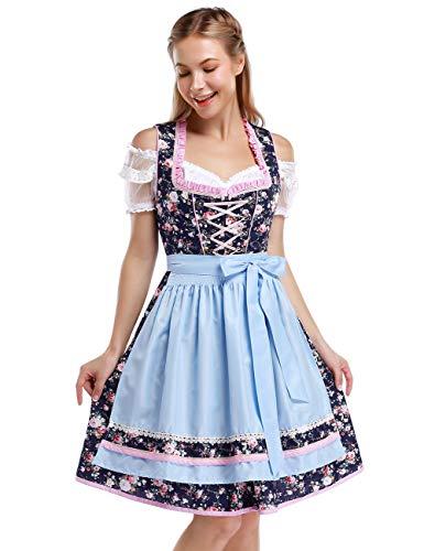 KOJOOIN Trachtenkleid Damen Dirndl Kurz mit Stickerei Exklusives Designer für Oktoberfest - DREI Teilig: Kleid, Bluse, Schürze Blau Dunkelblau Blumen 34