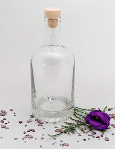 casavetro Bottigliette Vetro con Tappo Sughero - 500 ml - Bottiglia Vuota in Vetro per Vino, Liquore, Acqua, Succo di Frutta, Conserve, Latte, Olio, Birra, Vino, Estratti, Amari (6 x 500 ml)