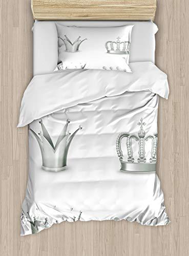 Plata de edredón por Ambesonne, diferentes tipos de antiguo coronas Reina king Imperial tema Vintage símbolo, decorativo juego de cama con fundas de almohada, color gris y blanco