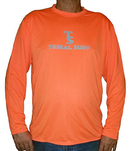 Tribal Surf Long Sleeve Loose Fit Rash Guard, Swimming Shirt, UV Protection 50+ (XS, Neon Orange)