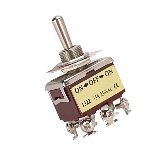 XUSHEN-HU Herramientas Interruptor eléctrico de la válvula, 5PCS 250V 15A 12 mm Orificio de montaje del interruptor eléctrico 6 Pin3 Posición Terninal ON-OFF-ON metal perilla redonda interruptor contr