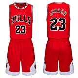 Kinder Trikots Set- Bulls Nr. 23 Trikot Basketball Shirt Weste Top Sommer Shorts für Jungen und...