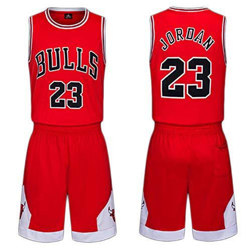 Kinder Trikots Set-Chicago Bulls Nr. 23 Trikot Basketball Shirt Weste Top Sommer Shorts für Jungen und Mädchen-red-L